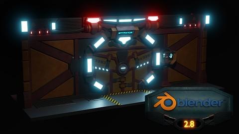 Blender 3D model a Sci-fi Scene Eevee